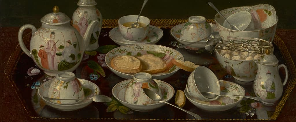 Detail from Still Life: Tea Set, Jean étienne Liotard, hanging in the  J Paul Getty Museum