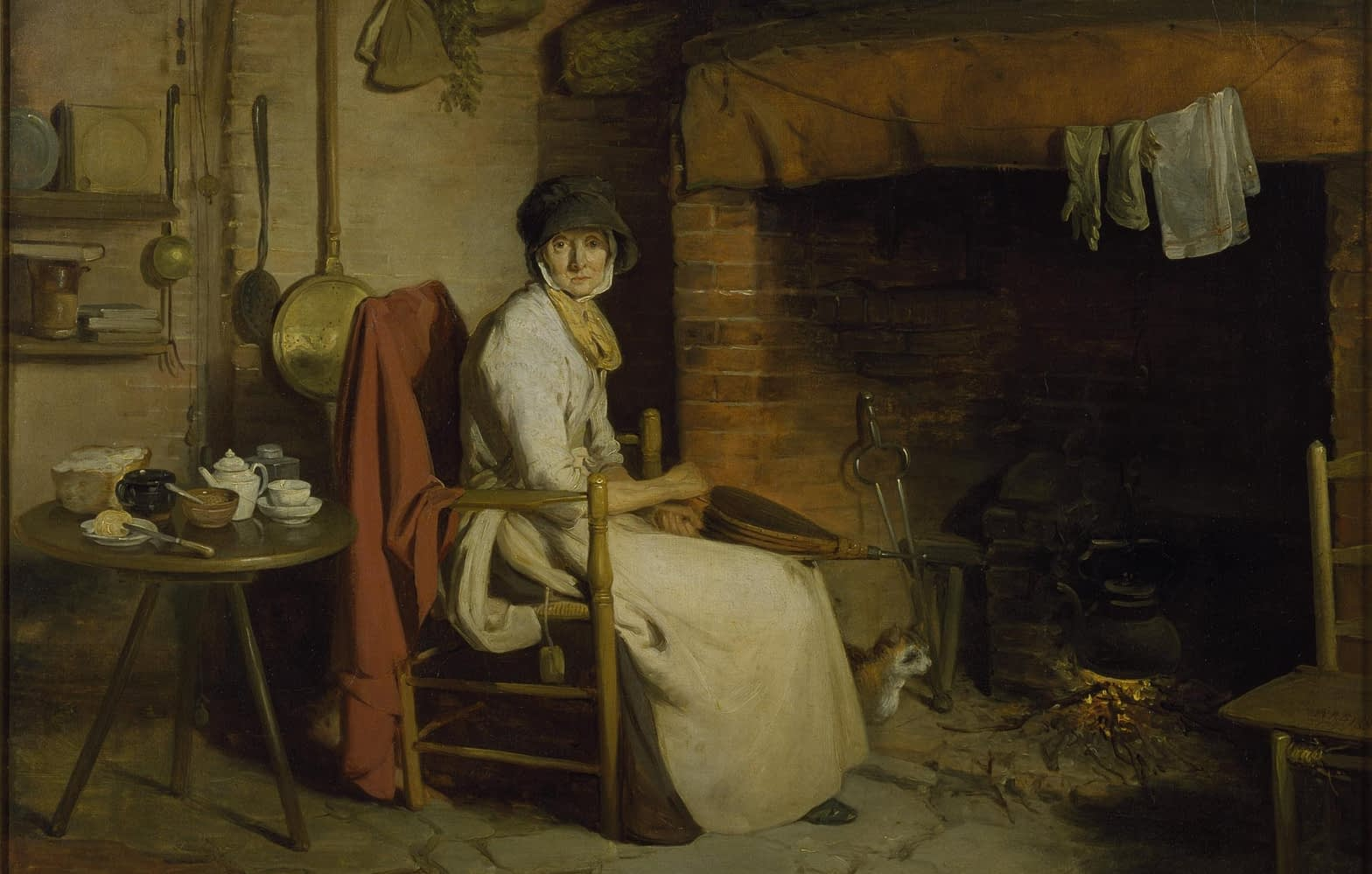 Oil painting, 'A Cottage Interior - an Old Woman Preparing Tea', William Redmore Bigg, 1793 © Victoria and Albert Museum, London