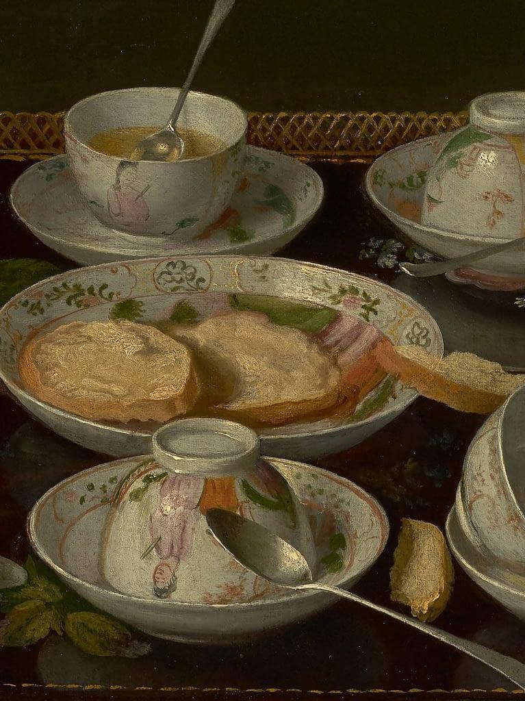 Detail of painting  Tea set: Jean Etienne Liotard circa 1783