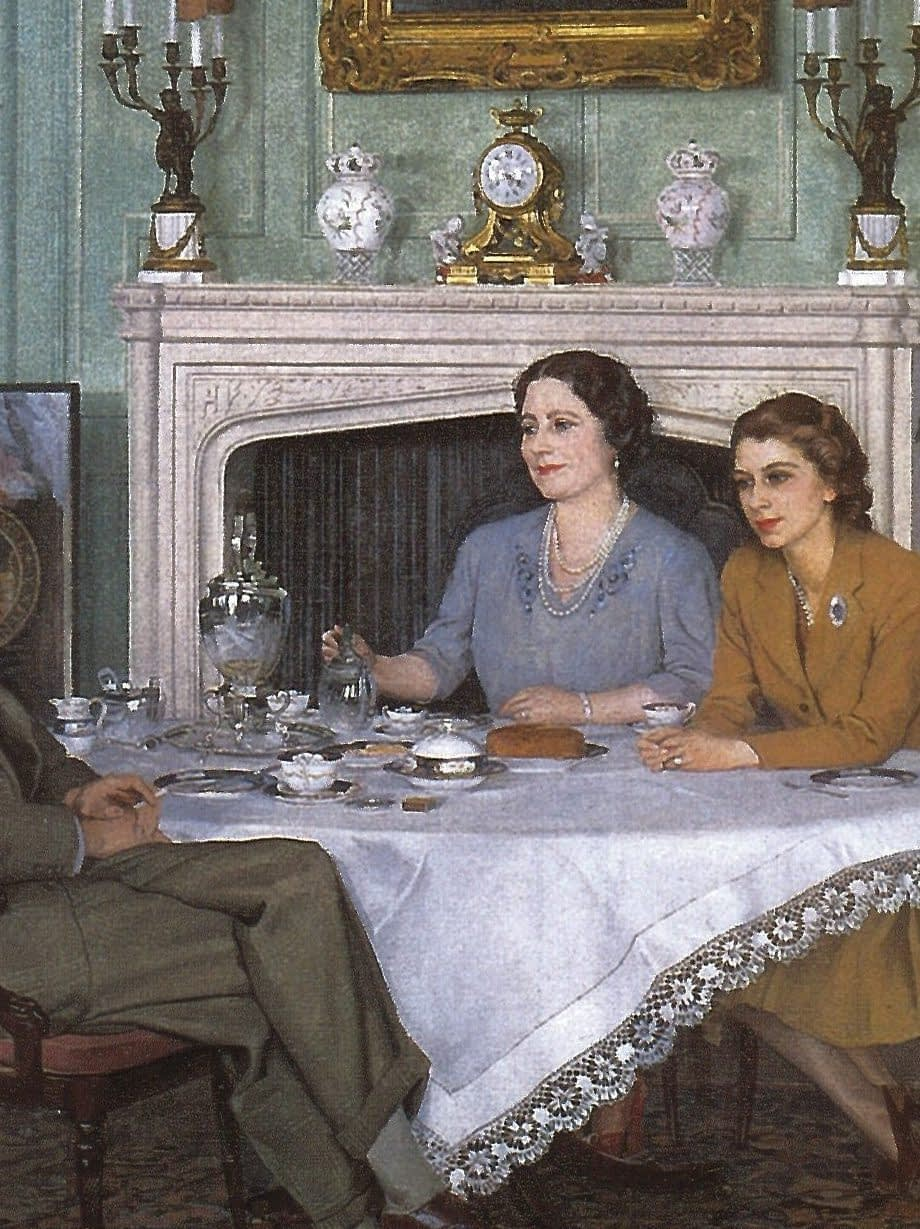 Conversation Piece painting; the royal family having tea in the afternoon at the Royal Lodge, Windsor
